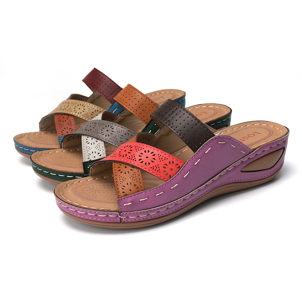 Lostisy Large Size Women Casual Cross belt Hollow Color Stitching Slippers