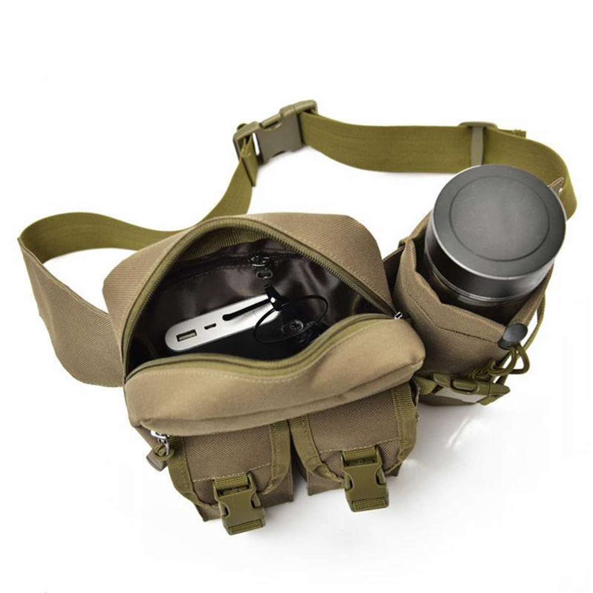 Men Outdoor Tactical Waist Fanny Pack Nylon Hip Bum Belt Chest Bag Water Bottle Holder Pouch Camping Hiking