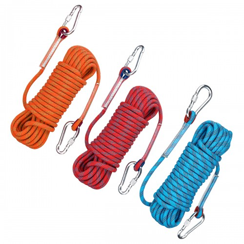 10mx10mm Double Buckle Rock Climbing Rope Outdoor Sports Hiking Climbing Downhill Safety Rope