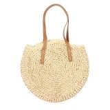 Women Beach Woven Straw Bag Bucket Rattan Shoulder Handbag Outdoor Travel