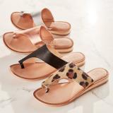 Large Size Comfy Soft Leopard Clip Toe Flat Sandals
