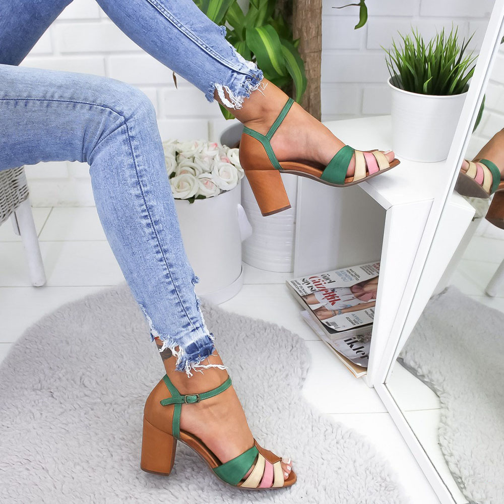 Large Size Women Color Patchwork Hollow Out Heeled Sandals