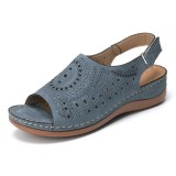 Lostisy Large Size Women Casual Hollow Out Pattern Hook Loop Sandals