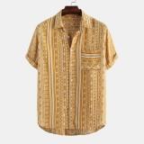 Mens Vintage Summer Pattern Stripe Printed Pocket Loose Casual Shirts