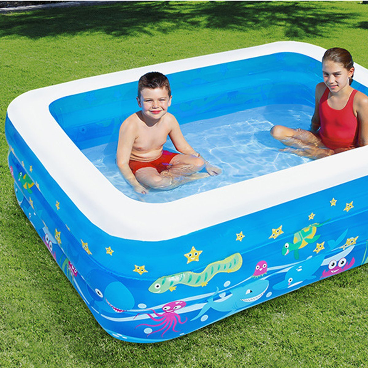 Inflatable Swimming Pool Family Childrens Kids Baby Large Water Rectangular Fun Swimming Pool-125/150/185cm