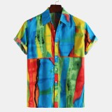 Mens Summer Colorful Printed Short Sleeve Casual Shirts