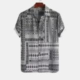 Mens Summer Plaid Stripe Printed Turn Down Collar Casual Shirts