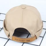 Mens Adjustable Breathable Solid French Brimless Hats Vogue Retro Skullcap Letter Sailor Cap