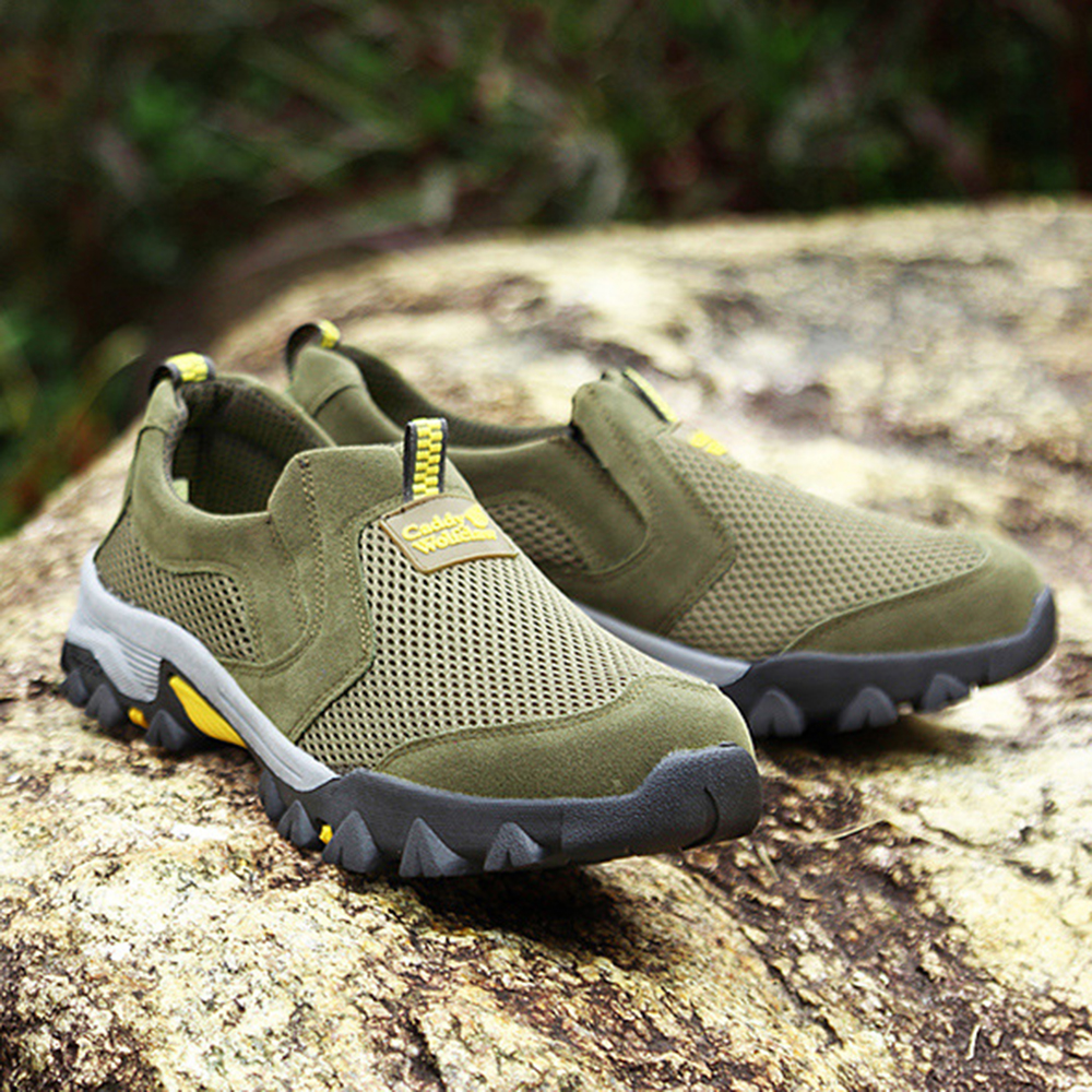 Men Breathable Mesh Leather Wear Resistant Slip On Outdoor Sneakers