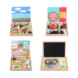 Wood Magnetic Drawing Board Animal Puzzle Toys Jigsaw Puzzle Toy Kids Early Educational Learning