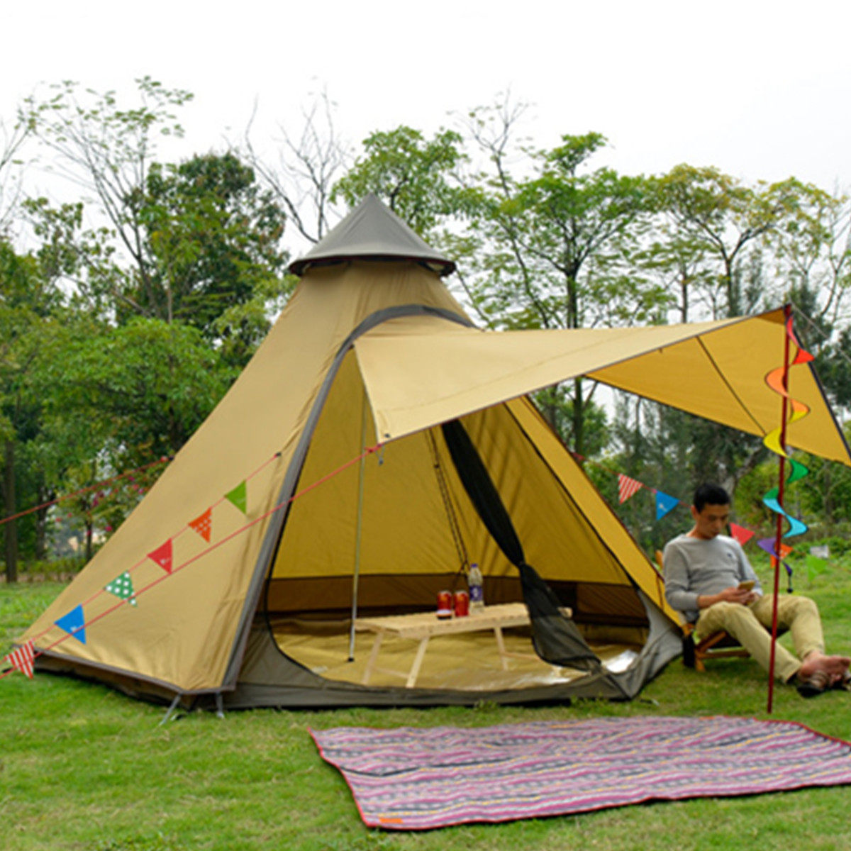3-4 People Outdoor Camping Tent Indian Style Pyramid ...