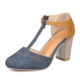 Large size Women Hollow Out Stitching word buckle Heeled Sandals