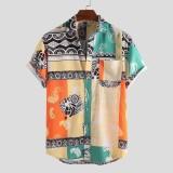 Men Hawaii Style Oriental Print Short Sleeve Shirts
