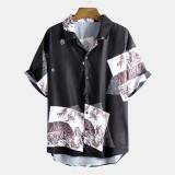 Mens Summer Printed Breathable Loose Comfy Turn Down Collar Casual Shirts