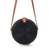 2L Straw Bag Rattan Woven Crossbody Beach Bag Handbag Outdoor Travel
