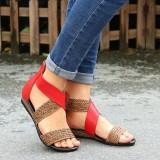 Lostisy Large Size Women Weave Stitching Zipper Flat Sandals