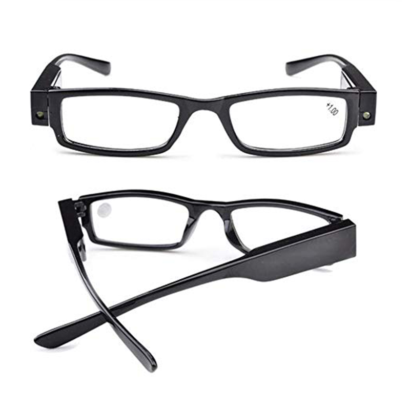 Unisex Rimmed Reading Glasses Eyeglasses Spectacal With LED Light Diopter Magnifier