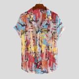 Mens Summer Multi Color Grattifi Printing Practical Pocket Short Sleeve Casual Shirts