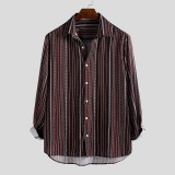 Mens Autumn Striped Buttons Fly Breathable Long Sleeve Casual Shirts