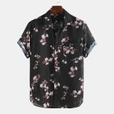 Mens Summer Floral Printed Plain Pattern Short Sleeve Casual Shirts