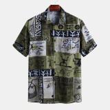 Mens Summer Holiday Graffiti Plaid Pattern Printed Short Sleeve Casual Shirts