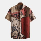 Mens Summer Abstract Printed 100% Cotton Short Sleeve Casual Shirts