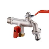 """TMOK DN20 3/4"""" Brass 1 in 2 out Washing Machine Faucet Male Thread Double Outlet Tap w/ Water Flow Control Valve"""