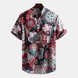Mens Vintage Pattern Printing Short Sleeve Henley Shirts