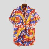 Mens Colorful Graffiti Tie Tye Printed Stand Collar Short Sleeve Summer Shirts