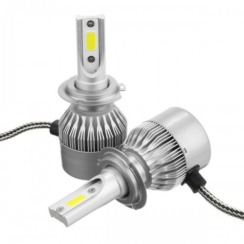 C6 COB LED H4 H7 Car Headlights 3000K Golden Yellow Bulbs H1 9005 9006 Fog Lamps 72W 7600LM