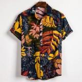 Mens Casual Summer Vacation Loose Floral Printing Hawaiian Shirts