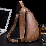 Bullcaptain Men Chest Bag Genuine Leather Sling Bag Solid Crossbody Bag