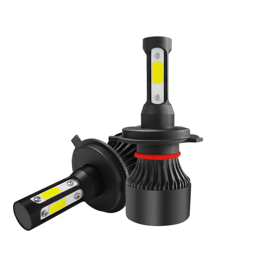 S2 4 Sides COB LED Car Headlights Bulbs H4 H7 H11 9005 9006 9007 50W 6000LM 3D 360 Degree Fog Lamp 6000K