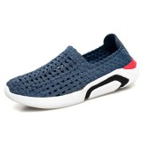 Men Elastic Fabric Breathable Hollow Out Casual Walking Sneakers