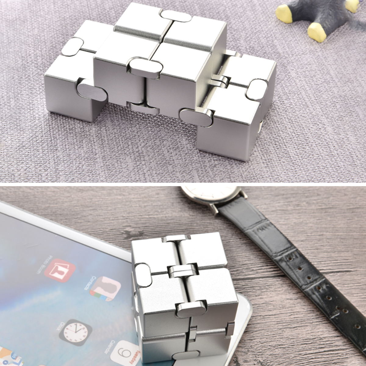 Mini Infinity Funny Magic Cube Aluminum Alloy Anxiety Stress Relief Blocks Toy for Kids Adult