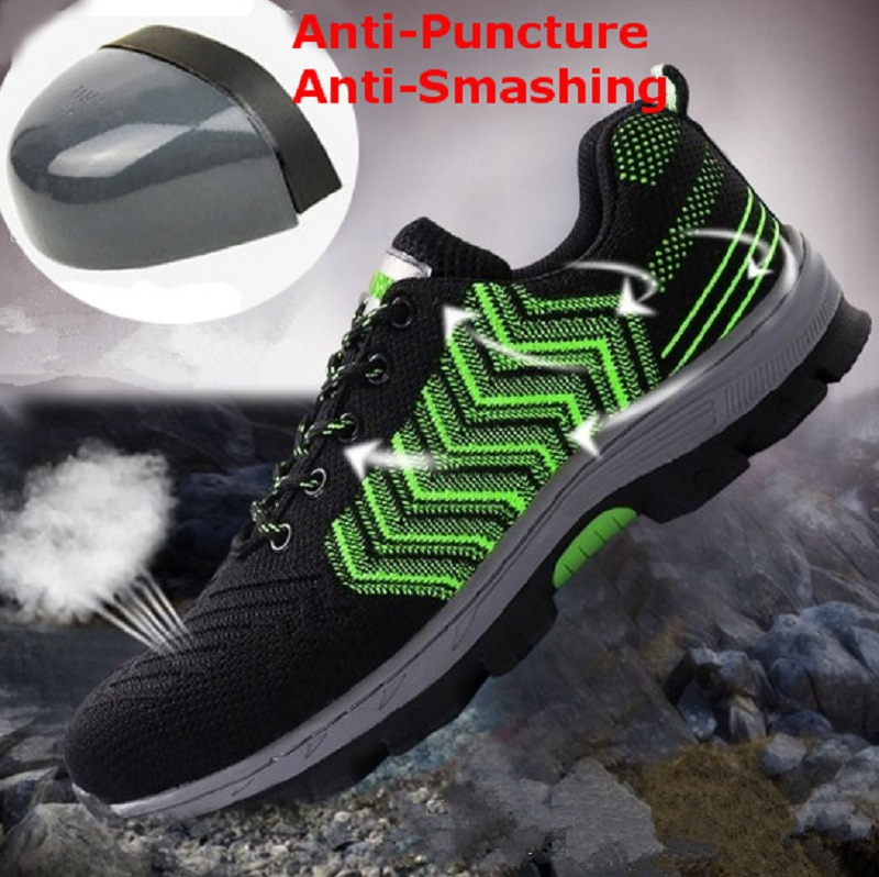 TENGOO Safety Shoes Work Shoes Steel Teo Mens Outdoor Hiking Running Camping Shoes Non-Slip Anti-Smashing
