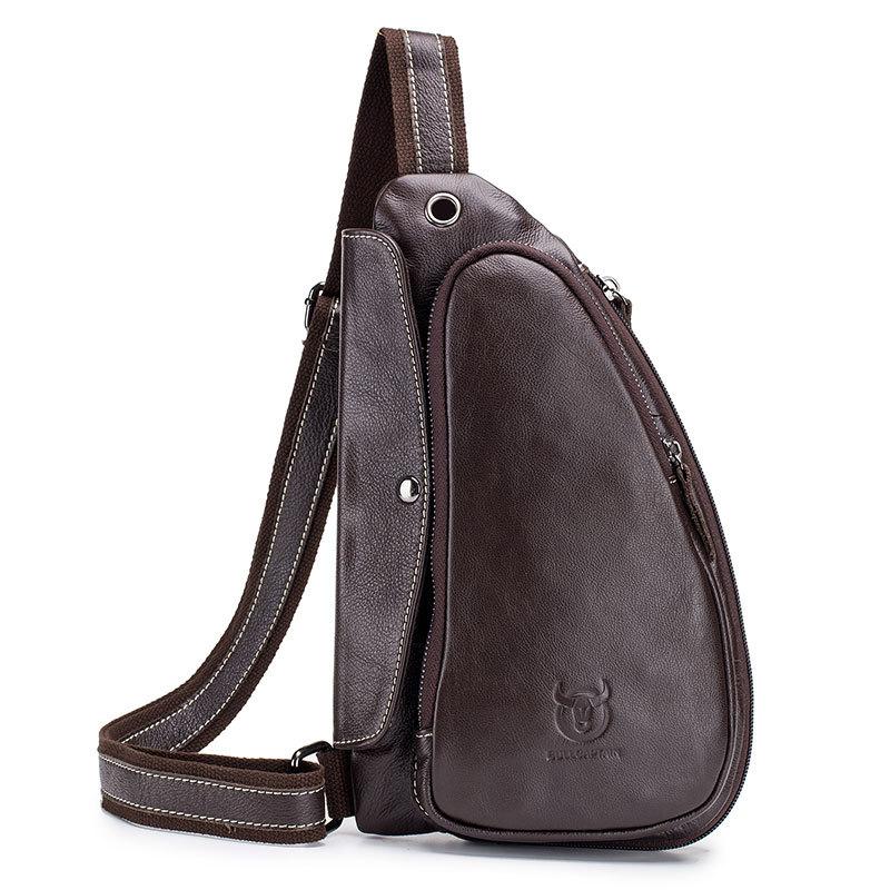 Bullcaptain Men Chest Bag Genuine Leather Sling Bag Solid Crossbody Bag