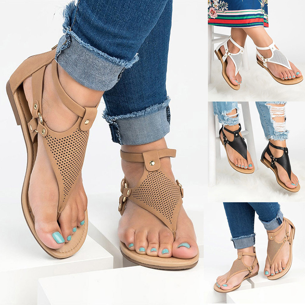 Large Size Women Roman Clip Toe Hollow out Flat Sandals