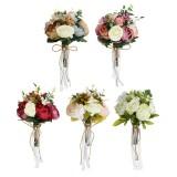 Bride Holding Rose Artificial Silk Flowers Floral Wedding Bouquet Romantic Decor Supplies