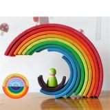 12 Pcs Baby Toys Rainbow Blocks Wooden Rainbow Stacker Nesting Puzzle Creative Montessori Building Blocks Educational Toys
