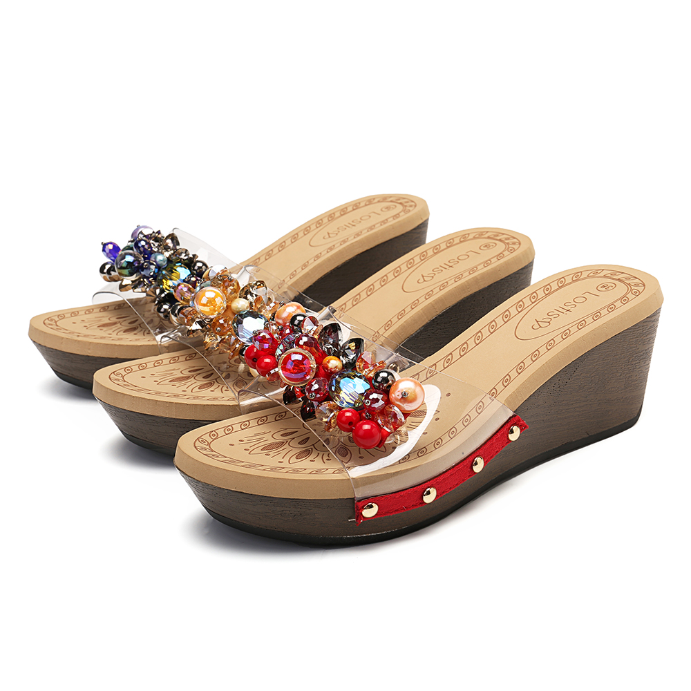 Lostisy Women Rivets Rhinestone Transparent Wedges Slide Slippers