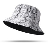 Unisex Snake Pattern Bucket Hat Double-sided Bucket Hat Wearable Sun Shade Fisherman Hat