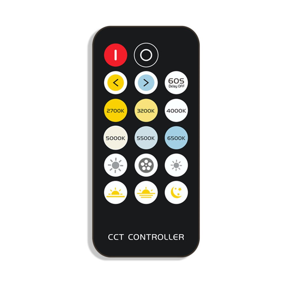 Mini 17Keys RF Remote Control + 6A CCT Color Temperature LED Strip Controller for Indoor Lighting Use DC5-24V