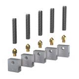 Anet 5Pcs Teflon Throat Tube + 5Pcs 0.4mm Nozzle + 5Pcs Aluminium Heating Block 3D Printer Part Set