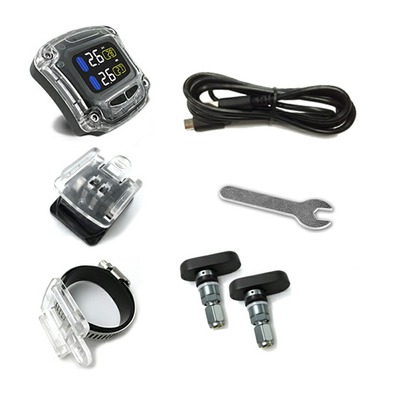 CAREUD Real Time Tire Pressure Monitor System Waterproof Motorcycle TPMS Wireless LCD Display Internal/External