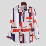 Men Hit Color Irregular Printed Long Sleeve Lapel Shirts