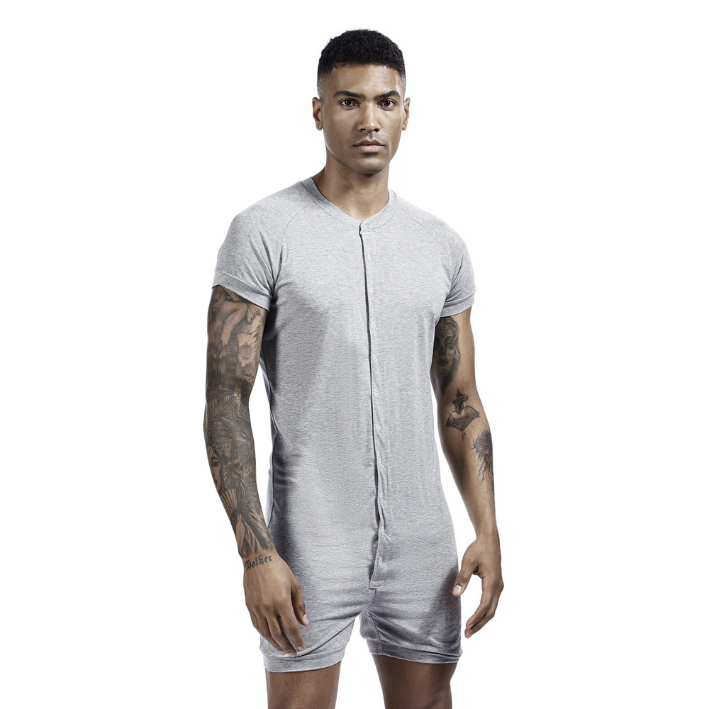 Men Solid Color Onesies Pajamas Viscose Breathable Short Sleeve Buttons Down Loungewear Jumpsuit