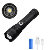 XANES WP50 XHP50 Zoom LED Flashlight USB Rechargeable 5 Modes Tactical Torch Light Waterproof With 26650 Battery Work Light