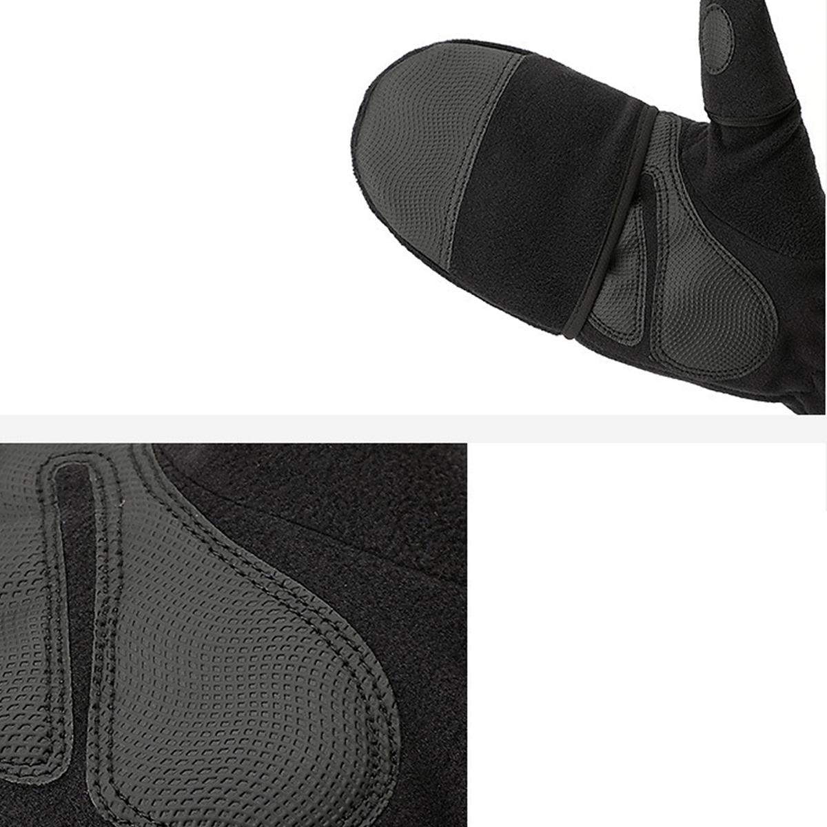 Fleece Warm Gloves Men's Flip Finger Plus Velvet Thick Fingerless Touch Screen Motorcycle Gloves Winter Warmer