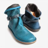 Plus Size Women Retro Leather Buckle Belt Round Toe Flat Ankle Boots